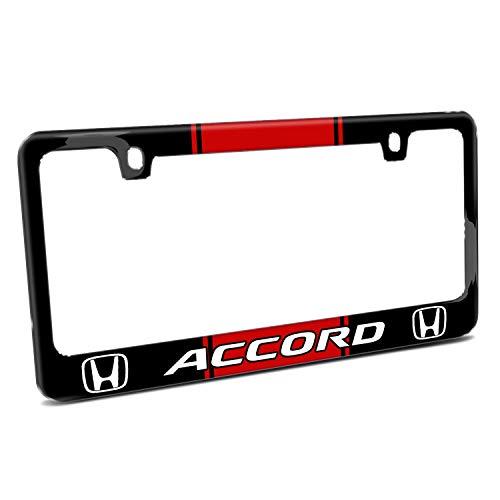 First Rober Honda Accord Red Racing Stripe Cover Chrome Black Metal License Plate Frame Holder