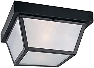 10.37-in W Black Outdoor Flush-Mount Light