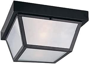 10.37-in W Black Outdoor Flush-Mount Light