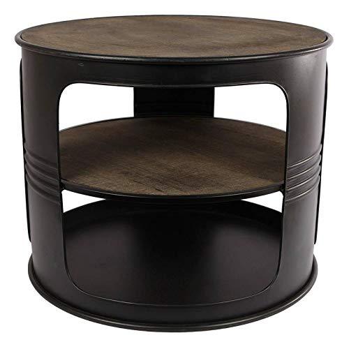 L'Héritier Du Temps Table Basse Baril Ronde Console de Salon Forme Bidon Design Industriel Vintage en Métal Noir et Bois Patiné 40x50x50cm