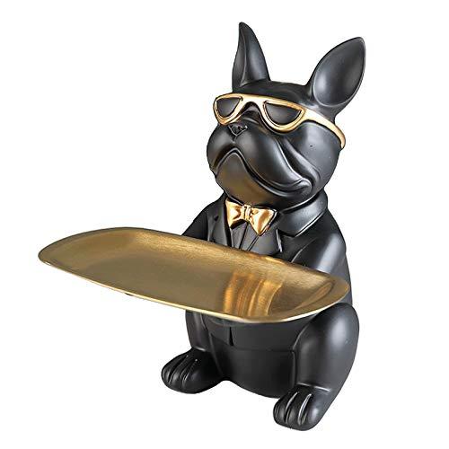 non_brand Bulldog Statue Vassoio Portaoggetti Resina Art Sculpture Figurine Collezione Animal Lover - Nero