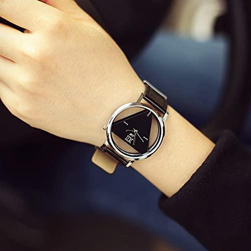 Msltely Relojes de Pulsera Relojes de Cuarzo del triángulo Hueco clásico Relojes Simple Novedad e individualismo Reloj de Pulsera de Reloj análogo Redondo Creativo Regalo (Color : Black)