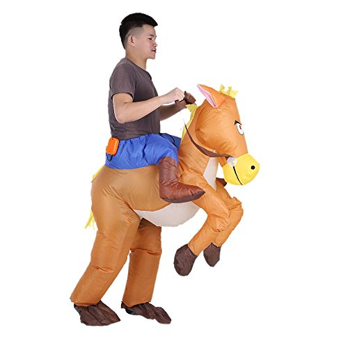 Anself Inflatable Costume Suit Funny Cowboy Rider on Horse Party Blow Up Costume Outfit for Adult