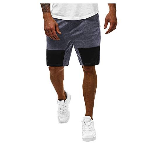 Bermudas para hombre, pantalón corto para primavera, verano, informal, fitness, culturismo, con bolsillos, pantalones cortos para correr, verano, pantalones de trabajo y playa S2002 gris M