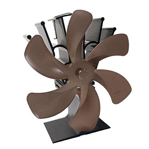 Baoblaze 6 aspas de Estufa de leña Ventilador de Chimenea Motores silenciosos Que circula con Calor/Aire Caliente Ventilador de Estufa ecológica para - de Bronce