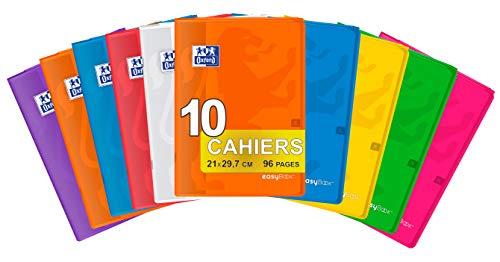Oxford EasyBook 10 zeszytów, A4, 21 x 29,7 cm, 96 stron, w kratkę, 90 g, różne kolory