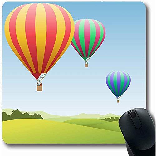 Mousepad Oblong 18X22Cm Drie Hot Air Ballonnen Parken Landelijk Platteland Vliegtuig Luchtvaart Ontwerp Office Computer Laptop Notebook Mouse Pad,Antislip Rubber