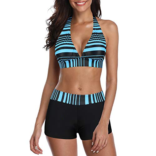 Zando Swimsuits for Women Two Piece Bathing Suits Boyshort Womens Bikini Sets Swimming Suit Halter Slimming Swimwear B Black Blue Stripe L (fits US 8-10)