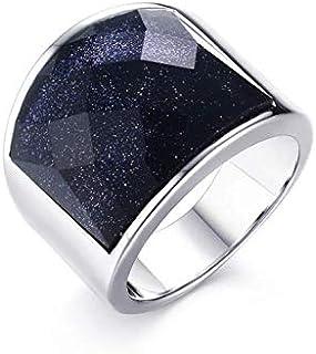 خاتم تيتانيوم بنفسجي حجر طبيعي رجالي مقاس 9