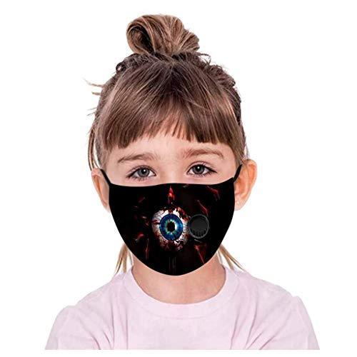 PPangUDing Halloween Mundschutz Kinder mit Motiv Waschbar Wiederverwendbar Staubdicht UV-Schutz Atmungsakti Baumwolle Multifunktionstuch Schlauchtuch Bandana für Jungen und Mädchen (L)