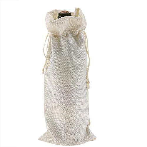 12 Piezas Bolsa de Vino de Tela de Lino Simple Bolsa Decorativa Bolsa de Regalo Bolsa con cordón de Vino con Cubierta Decorativa de champán con cordón(Beige)