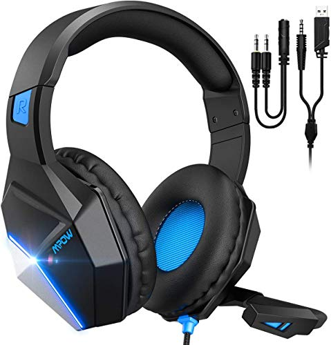 Mpow EG10 Cuffie Gaming per PS4, PC, Xbox One, Cuffie da Gaming con microfono e Bass stereo, Cuffie da gioco con Cancellazione del rumore, Controllo del volume LED per Nintendo Switch/MAC/Laptop(blu)