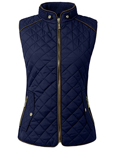 NE PEOPLE Womens Lightweight Quilted Zip Vest, Medium, NEWV40NAVY