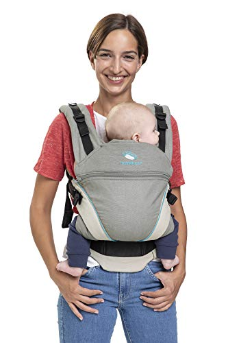 manduca XT, Baby Carrier with Adjustable Seat, 3 Carrying Positions (Front, Hip & Back), No Infant Insert Needed, Organic Cotton, Grows with Your Baby (3.5-20kg) (Grey-Ocean, XT Cotton)