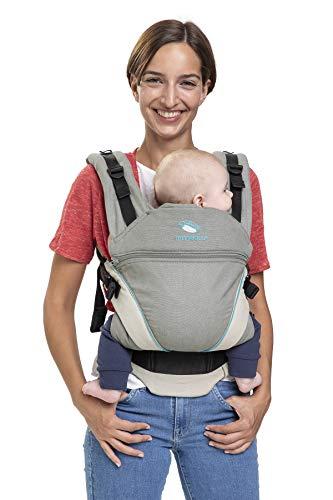 Babytrage manduca XT Cotton/grey-ocean/All-In-One Babytrage für Neugeborene, verstellbarer Sitz, 3 Trage Positionen, Bio-Baumwolle, für Babys von 3,5 bis 20 kg (grau-türkis)