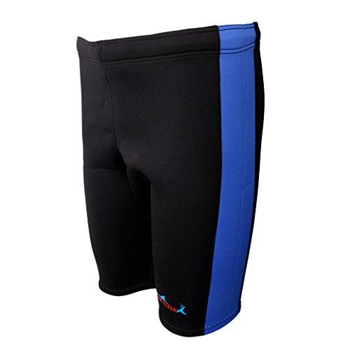 MagiDeal Muta Pantaloncini da Uomo Donna in 3mm Neoprene per Canoa Kayak Surf Nuoto Ciclismo - Blu e nero, XXL