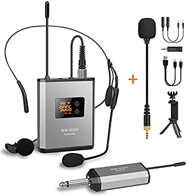"UHF Wireless Lavalier Microphone System with 48 Frequencies, Lavalier Lapel MIC/Headset MIC/Stand MIC Rechargeable Transmitter & 1/4"" Output Receiver for iPhone, Camera, PA Speaker, Video Recording by fansrocck"