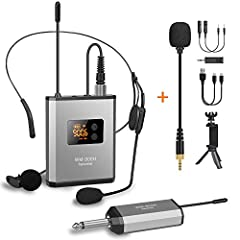 """WIRELESS MICROPHONES WITH WIDE COMPATIBILITY: Receiver with universal 1/4"""" plug which works with mixer, PA speaker, and amplifier. Package includes 6.5 to 3.5 adapter makes it compatible with the devices with 3.5mm jack such as DSLR camera, digital c..."""