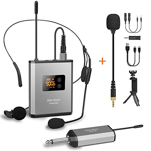 "UHF Wireless Lavalier Microphone System with 48 Frequencies, Lavalier Lapel MIC/Headset MIC/Stand MIC Rechargeable Transmitter & 1/4"" Output Receiver for iPhone, Camera, PA Speaker, Video Recording"