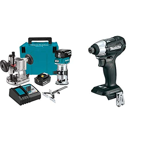 Makita XTR01T7 18V LXT Lithium-Ion Brushless Cordless Compact Router Kit with Makita XDT15ZB 18V LXT Lithium-Ion Sub-Compact Brushless Cordless Impact Driver, Tool Only