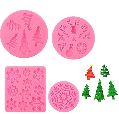 XXYsm 4 Pcs Silicone Christmas Fondant Mold Set Xmas Snowflake 3D DIY Mould Elk Tree Snowman Gingle Bell Fondant Tool Cake Chocolate Mold Baking Icing Sugar Candy Decoration
