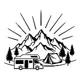 pzmolpq 5 Pcs Autocollant De Voiture 18.3 CM * 14.8 CM Tente De Camping Voyage Montagnes Paysage Mode Car-Styling Autocollants Stickers Vinyle Noir