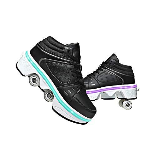 Patines Línea Niños LED Cuatro Rollos Zapatos Chicas con Rollos Deformación Ruedas Patines Scooter Zapato Caminando Patines Hombres Mujeres,Schwarz-EUR38/US7/UK4.5