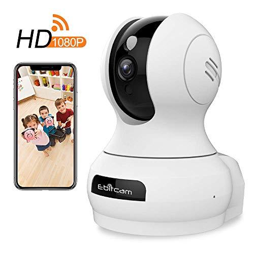 HD 1080P WiFi Überwachungskamera Innen WLAN Handy, Wireless IP Kamera mit Bewegungserkennung, 2-Wege-Audio, Nachtsicht, 360° Weitwinkel, Home und Baby Monitor Sicherheitskamera-Mobile App Kontrolle