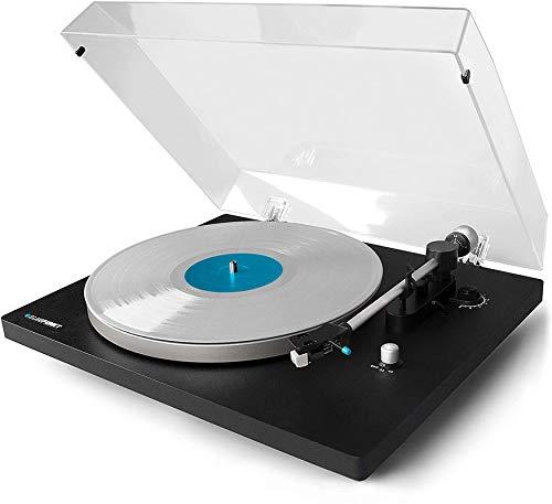 Blaupunkt TT 100 C Plattenspieler mit Deckel, gefederte Stand-Füße, Plattenspieler Retro mit Audio Technica MM System, Turntable, 2 Geschwindigkeiten, Abschaltautomatik, Antiskating, Riemen-Antrieb