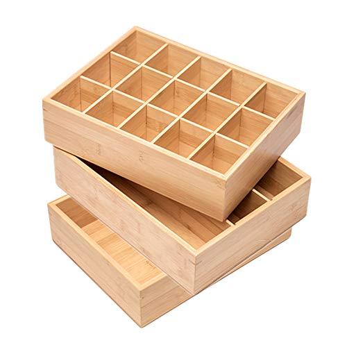 MDFQL Organizador de cajones de Ropa Interior, Caja de Almacenamiento Organizador de células de bambú de 3 Celdas de 3 Celdas, para Ropa, Calcetines, lencería, Ropa Interior, vínculos,Set of 3