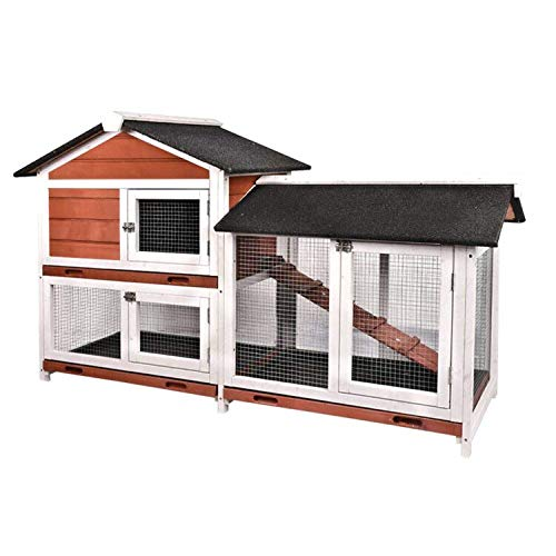 """B BAIJIAWEI 36"""" Wooden Rabbit Cage Hutch - Chicken Coop Bunny Cage Poultry Pet Cage with Ladder and Outdoor Run - Large"""