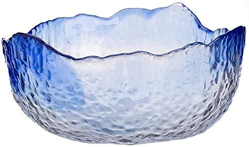 Gedroogde fruitpot Creatieve onregelmatige glazen voedselcontainer Salade Fruit Gedroogde fruitschaal (blauw, maat: medium)