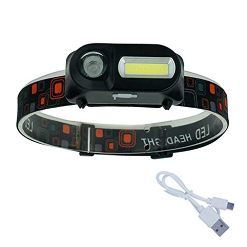 DIDIOI koplampen, USB oplaadbare lantaarn schijnwerper 6 modi zaklampen 18650 lantaarn op voorhoofd voor kamperen, wandelen, vissen