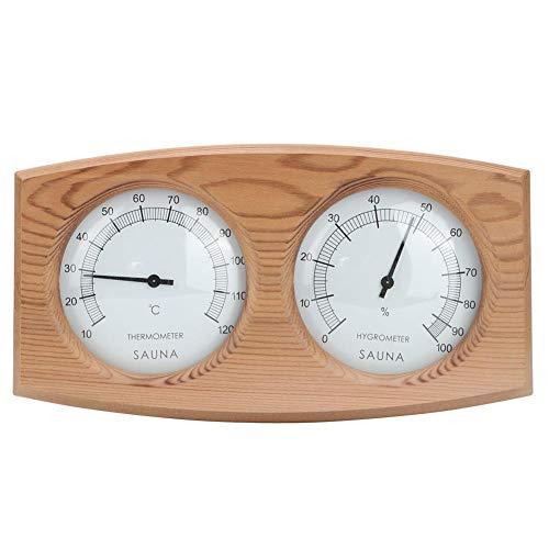 Pbzydu 2 IN 1 Sauna Thermometer Hygrometer aus Holz, Zubehör für Dampfbadthermo Hygrometer