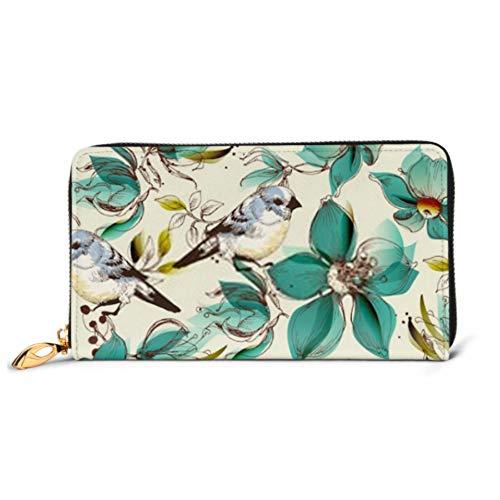 Fashion Handbag Zipper Wallet Retro Seamless Pattern Cute Flowers Birds Phone Clutch Purse Evening Clutch Blocking Leather Wallet Multi Card Organi -  ZHRX, QZ-MUGEEE-20200311-5234