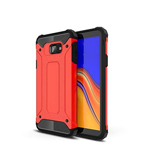XunEda Samsung Galaxy J4 Core Hülle, Dual Layer Rüstung Handyhülle Hart PC Hülle Weichem Silikon TPU Schutzhülle Cover für Samsung Galaxy J4 Core Smartphone (Rot)