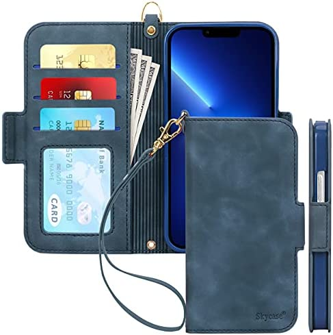 Photo of Skycase Wallet Case Compatible for iPhone 13 Pro 6.1'',[RFID Blocking][Kickstand Function] Flip Folio Wallet Case with Card Slots and Detachable Hand Strap for iPhone 13 Pro 6.1″ 5G 2021,Navy