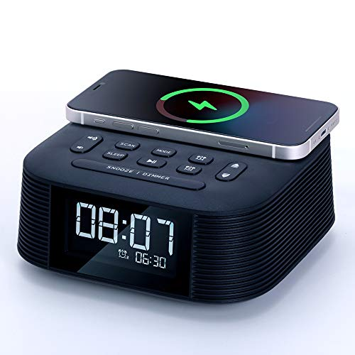 【Upgraded Version】Homtime Wireless Charger Alarm Clock Radio with Bluetooth Speaker,10W Fast Charging Function,Dual Alarms,USB Charging Port,Sleep Timer and LCD Display with dimmer for Bedrooms(Black)