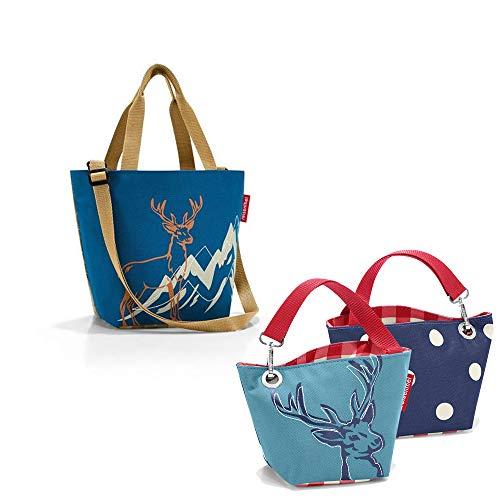 reisenthel Bavaria Serie mit Zugabe Einkaufskorb Tasche Shopper Reisetasche Rucksack Beutel (Shopper xs + Hirsch Blue)