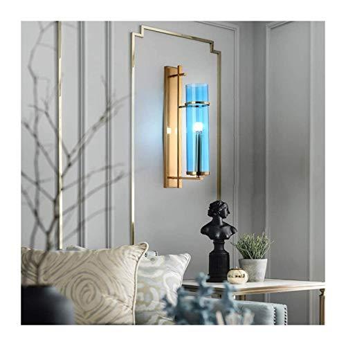 YONGYONGCHONG Lámpara de pared de cristal lámpara de pared sala de estar decoración de pared creativa lámpara dormitorio sofá lámpara de pared azul 21 * 80 cm iluminación