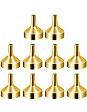 STSUNEU 10Pcs Mini Stainless Steel Funnels, Multipurpose Small Funnel for Filling Small Bottles Containers, Cosmetic/Perfume/Essential Oil/Lotion (Gold)