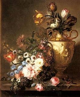 Hecho a mano de pintura al óleo de pintura GFM reproducciones de un Bodegón con flores de varios colores, pintura al óleo de Beauregard Ange Louis Lesourd, lona, 8 By 10 inches