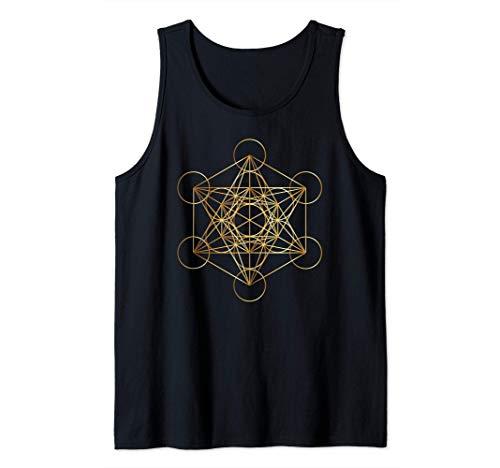 Metatrón Creación Cubo Dorado Camiseta sin Mangas