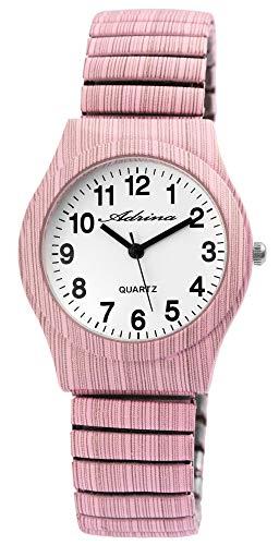 ADRINA Damenuhr Weiß Rosa Holz-Optik Analog Quarz Metall Zugband Arabische Ziffern Armbanduhr
