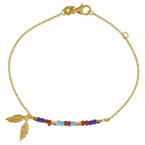 Gioelli Les Poulettes - Bracciale Placcato Oro Piccola Piuma e Perline Blu Rosso Turchese