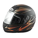 Saferide | Integralhelm Schwarz-Orange Matt M 57-58 cm Helm Motorrad Quad Damen Herren Roller Gesichtsschutz Klapphelm Erwachsene Regenschutz Sturzhelm Motorradhelm Moped Mofa