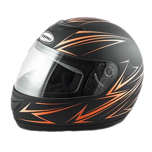Saferide | Integralhelm Schwarz-Orange Matt XXL 63-64 cm Helm Motorrad Quad Damen Herren Roller Gesichtsschutz Klapphelm Erwachsene Regenschutz Sturzhelm Motorradhelm Moped Mofa