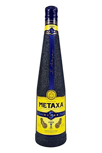 Metaxa 5* Sterne Weinbrand Brandy 0,7l 700ml (38% Vol) Bling Bling Glitzerflasche in schwarz -[Enthält Sulfite]