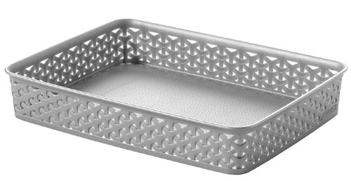Curver 00095-087-00 'My Style - office' Basket, Silver, 36 x 26 x 6 cm