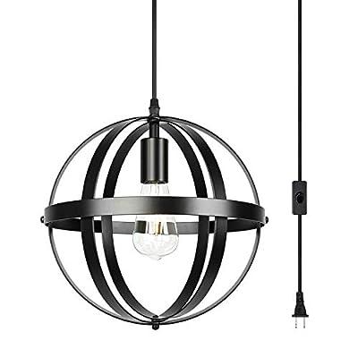 Farmhouse Industrial Chandelier Black Pendant Lighting Globe Hanging Lights for Kitchen Dining Room Bedroom Living Room Foyer (Plug-in (1-Light))